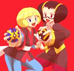 2girls black_hair blonde_hair blue_eyes frontier_brain glasses hand_holding kogomi_(pokemon) multiple_girls nakaba open_mouth poke_ball pokemon quick_ball rioka_(pokemon) simple_background ultra_ball violet_eyes