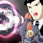 1boy big_o_(mecha) black_hair necktie open_mouth ribonzu roger_smith suit the_big_o weapon