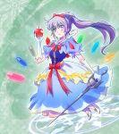 1girl apple blue_eyes bow cosplay food fruit gems gloves iesupa jewels ribbon rwby scar snow_white snow_white_(cosplay) sword weiss_schnee white_hair