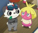 animated animated_gif blonde_hair no_humans pancham pokemon pokemon_(anime) short_hair smoochum