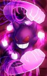 artist_request fist gengar ghost grin nintendo no_humans pokemon pokemon_(game) red_eyes smile solo teeth