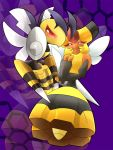 1girl alternate_form bee beedrill couple insect_wings looking_at_viewer mega_beedrill mega_pokemon nintendo no_humans pointing pokemon purple_background ragujuka_(aachi) red_eyes serious smile sting vespiquen wings zoom_layer