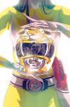 1girl backlighting belt bodysuit emblem gun head_out_of_frame helmet holster kyouryuu_sentai_zyuranger lens_flare power_rangers reflection shiny solo super_sentai weapon