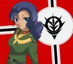 1girl blue_hair dark_skin gundam gundam_unicorn loni_garvey looking_at_viewer military military_uniform uniform uripon zeon