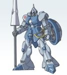 fujiwara_yuuzou gundam gyan mecha mobile_suit_gundam shield spear weapon