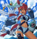 10s 1girl blue_eyes breasts ducklett fuuro_(pokemon) gloves gym_leader hair_ornament midriff one_eye_closed pokemoa pokemon pokemon_(game) pokemon_bw redhead skarmory smile swanna swoobat