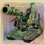 axis_powers_hetalia dark_skin ebi_no_hito egypt_(hetalia) gun gundam gundam_ms_igloo hildolfr keffiyeh mecha scarf tank weapon yellow_eyes