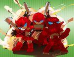 3boys artist_request cliffjumper explosion gun ironhide multiple_boys robot transformers warpath weapon