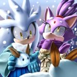 1boy 1girl blaze_the_cat coat furry gloves k.ty_(amejin) mittens no_humans open_mouth sega silver_the_hedgehog smile snow sonic_the_hedgehog yellow_eyes