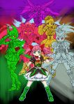 6+girls akemi_homura burakawani_(ooo_combo) cosplay crossover gatakiriba_(ooo_combo) goddess_madoka kamen_rider kamen_rider_ooo kamen_rider_ooo_(series) kaname_madoka mahou_shoujo_madoka_magica miki_sayaka multiple_girls parody putotyra_(ooo_combo) sagohzo_(ooo_combo) sakura_kyouko susanowokoujin tajador_(ooo_combo) tatoba_(ooo_combo) tomoe_mami