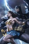 1boy 1girl abs armor armpits batman batman_(cosplay) batman_(series) bikini_armor black_hair cape clouds cloudy_sky collarbone dc_comics lasso lightning mask midriff muscle skirt sky stanley_lau star star_print tiara toned utility_belt wonder_woman wonder_woman_(cosplay)