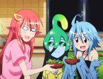 3girls animated animated_gif blue_hair eating food harpy lamia long_hair miia_(monster_musume) monster_girl monster_musume_no_iru_nichijou multiple_girls papi_(monster_musume) redhead salad short_hair slime smile suu_(monster_musume)