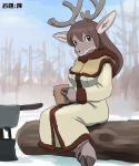 1girl artist_request brown_hair copyright_request female forest furry green_eyes long_hair moose nature outdoors plant sky snow solo translation_request winter winter_clothes