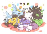 atusix claws dragon fangs genesect giratina kyurem no_humans pokemon pokemon_(game) simple_background sleeping tail zygarde