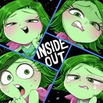 blush disgust_(inside_out) green_eyes green_hair green_skin inside_out lips pixar scarf sweat tears