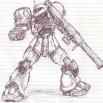 artist_request gundam mecha mobile_suit_gundam monochrome no_humans rocket_launcher sketch weapon zaku zaku_i
