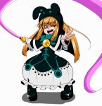 1girl duel_monster ebon_magician_curran hat hiku looking_at_viewer orange_hair smile whip yu-gi-oh!