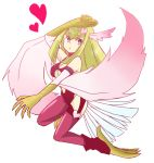 1girl bare_shoulders blonde_hair blue_eyes blush breasts claws duel_monster feathers female full_body hairband harpie_girl harpy heart long_hair looking_at_viewer monster_girl simple_background solo white_background wings yu-gi-oh!