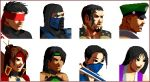 4boys 4girls black_hair blindfold capcom chun-li fangs hsu_hao ibuki_(street_fighter) iceangelmkx jade_(mortal_kombat) kenshi kitana li_mei mask mortal_kombat multiple_boys multiple_girls ninja nitara parody ryuu_(street_fighter) simple_background street_fighter sub-zero tattoo taven vampire vega white_background