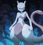 cave looking_at_viewer mewtwo nintendo no_humans pokemon pokemon:_the_origin screencap serious solo tail