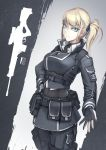 1girl blonde_hair blue_eyes bullet collar ears emblem gun hairband hand_on_hip hands hetza_(hellshock) holster looking_at_viewer military military_uniform nose original rifle side_ponytail simple_background skull sniper_rifle uniform weapon