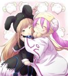 2girls blonde_hair closed_eyes duel_monster ebon_magician_curran female gradient gradient_background happy hat hug multiple_girls pink_hair smile white_background white_magician_pikeru yu-gi-oh!
