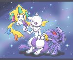 atusix cannon chibi genesect jirachi mewtwo nintendo no_humans pokemon pokemon_(game) smile tail