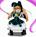 1girl duel_monster ebon_magician_curran hat heavy_breathing hiku looking_at_viewer orange_hair smile solo whip yu-gi-oh!