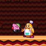 1996 2boys 90s animated animated_gif apron chef chef_hat chef_kawasaki cooking frying_pan hat kirby kirby_(series) kirby_super_star multiple_boys no_humans orange_skin pink_skin super_nintendo