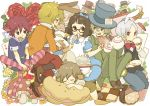 animal_ears bunny_ears cat_ears cheshire_cat dodo dormouse dress eat_me flower footman glasses highres mad_hatter march_hare mouse_ears mushroom rabbit_ears striped striped_legwear striped_thighhighs tail tea thigh-highs thighhighs walrus yukke