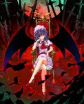 crossed_legs feet_in_water high_heels highres legs moon remilia_scarlet shoes sitting soaking_feet throne touhou unasaka_ryou water