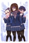3girls :3 :d black_hair blush brown_hair glasses highres long_hair looking_at_viewer multiple_girls open_mouth original pantyhose plaid plaid_skirt ringo78 scarf school_uniform short_hair skirt smile v waving
