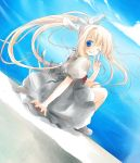 blonde_hair blue_eyes hair_ribbon kamio_misuzu kayune_niu kayuumi long_hair looking_back ponytail ribbon school_uniform v wink