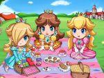 chibi nintendo picnic princess_daisy princess_peach rosalina sigurdhosenfeld sitting super_mario_bros.