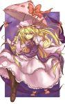 blonde_hair boots gap hair_ribbon hat long_hair nidoro nidoruhou purple_eyes ribbon touhou umbrella violet_eyes yakumo_yukari