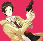 adachi_tohru bad_id black_hair gun male necktie persona persona_4 short_hair sudachips weapon