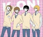 akiyama_mio dither dithering genderswap hairband halftone hirasawa_yui jeans k-on! kotobuki_tsumugi male multiple_boys necktie school_uniform sweater tainaka_ritsu