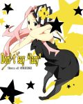 "cosplay darry_adai don't_say_lazy don't_say_""lazy"" dress drumsticks highres k-on! long_hair nanao pantyhose pink_hair solo tainaka_ritsu tainaka_ritsu_(cosplay) tengen_toppa_gurren_lagann"