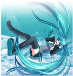 aqua_hair bad_id black_legwear black_thighhighs blue_eyes boots chirota detached_sleeves falling foreshortening hair_ornament hatsune_miku headset long_hair miniskirt necktie open_mouth panties pantyshot pleated_skirt skirt smile solo thigh-highs thigh_boots thighhighs twintails underwear very_long_hair vocaloid zettai_ryouiki