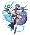 1girl absurdly_long_hair aqua_eyes asymmetrical_clothes asymmetrical_legwear belt belt_pouch boots bracelet capelet earrings eyepatch fins full_body gloves gold_trim jewelry ji_no long_hair looking_at_viewer ningyo_hime_(sinoalice) official_art partly_fingerless_gloves pouch purple_hair single_glove single_pantsleg sinoalice solo transparent_background very_long_hair water