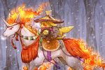 arrow fire forest hat horns horse kuronekotarou monster nature nintendo no_humans pikachu pokemon pokemon_(game) rapidash snow tail