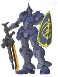 gun gundam gyan mecha mobile_suit_gundam no_humans shield simple_background solo weapon