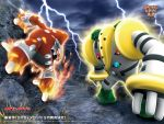 battle claws epic fire heatran nintendo no_humans official_art pokemon regigigas sky steel storm thunder