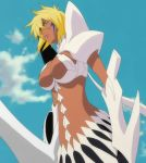 1girl arrancar bleach blonde_hair breasts clouds dark_skin espada female green_eyes resurreccion screencap skirt sky solo stitched tier_harribel