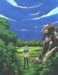 1girl albert_denomikeldy ass boots clouds forest from_behind grass kimura_takahiro leotard long_boots mecha nature outdoors pc_engine puffy_sleeves revealing_clothes short_sleeves sky standing steam_hearts thigh_boots thong_leotard tree