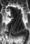 back building city claws destruction dinosaur fangs fire giant godzilla godzilla_(series) kaijuu long_image looking_at_viewer looking_back monochrome monster no_humans open_mouth profile roaring scales solo spikes standing tail tatsuya_(atelier_road) toho_(film_company)