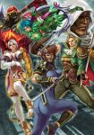 3boys 3girls absurdres armor ass astaroth_(soulcalibur) black_hair blonde_hair blue_eyes breasts brown_eyes dark_skin epic erect_nipples gauntlets gloves highres hood huge_ass huge_breasts isabella_valentine large_breasts multiple_boys multiple_girls ninja raphael_sorel skin_tight soul_calibur soulcalibur_iii stanley_lau sword taki_(soulcalibur) tira_(soulcalibur) weapon white_hair zasalamel