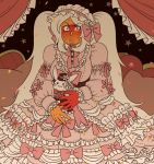 1girl blush cartoon_network dress embarrassed gold_eyes humiliation jasper_(steven_universe) lips lolita_fashion looking_at_viewer orange_skin steven_universe thick_lips twintails white_hair yellow_eyes