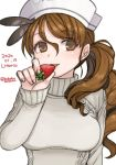 1girl alternate_costume bobokuboboku brown_eyes brown_hair character_name dated food fruit hat headdress kantai_collection littorio_(kantai_collection) long_hair looking_at_viewer panties parted_lips side-tie_panties simple_background smile solo strawberry sweater twitter_username underwear upper_body wavy_hair white_background white_headwear white_sweater