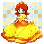 1girl blue_eyes brown_hair checkered crown dress earrings female fukumitsu_(kirarirorustar) gloves jewelry nintendo princess princess_daisy smile solo super_mario_bros. super_mario_land